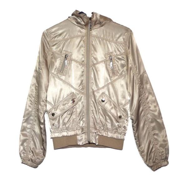 24ecef485 Metallic Gold Bomber Jacket, Windbreaker, Size M